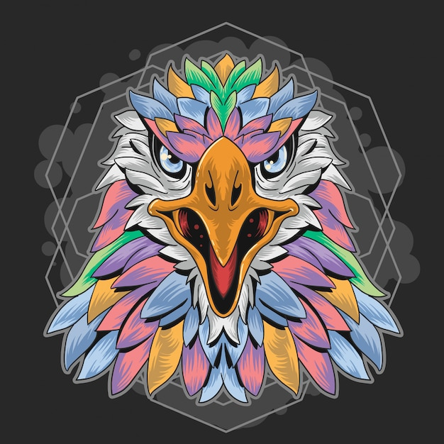 Eagle vollfarbige geometrie Premium Vektoren