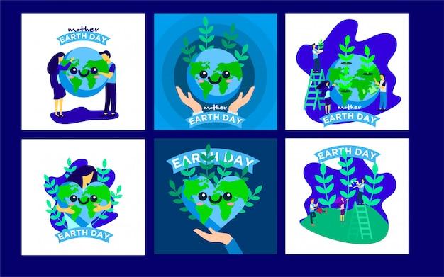 Earth day post-vorlagen Premium Vektoren