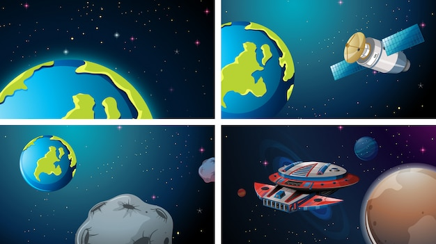 Earth space scene set Kostenlosen Vektoren