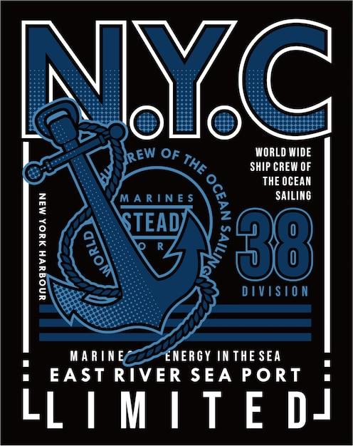 East river seehafen, vektorsegeln typografie illustration design grafik Premium Vektoren