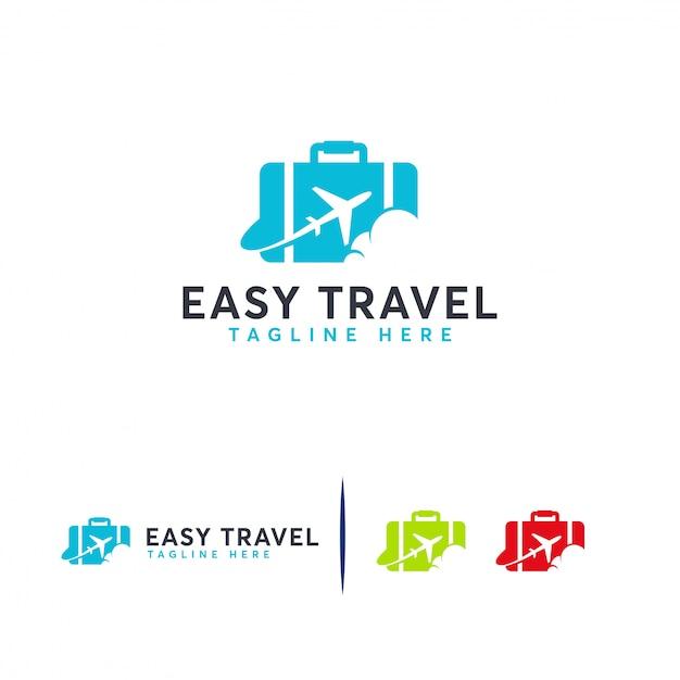 Easy travel-logo, logo-vorlage für reisebüros Premium Vektoren