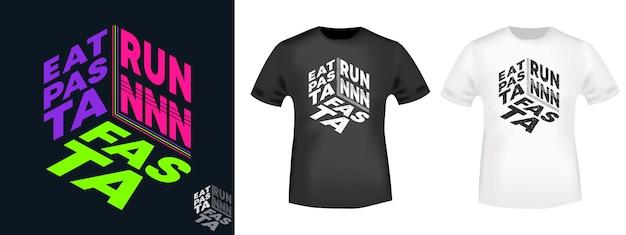 Eat pasta run fasta t-shirt-set Premium Vektoren