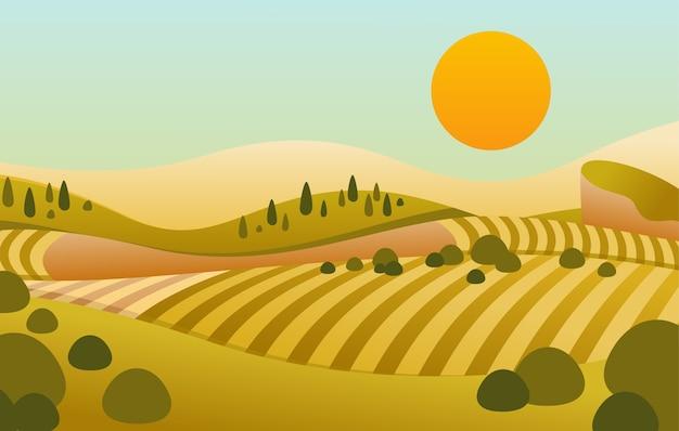 Ebene des landschaftshügels mit blick auf den sonnenuntergang und schön gelblich grün gefiedert Premium Vektoren