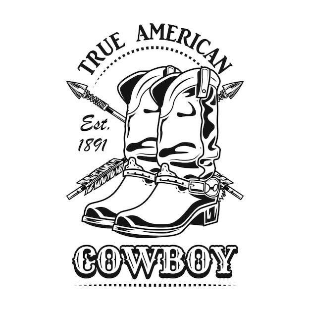 Echte amerikanische cowboy-vektorillustration. cowboystiefel und gekreuzte pfeile mit text Kostenlosen Vektoren