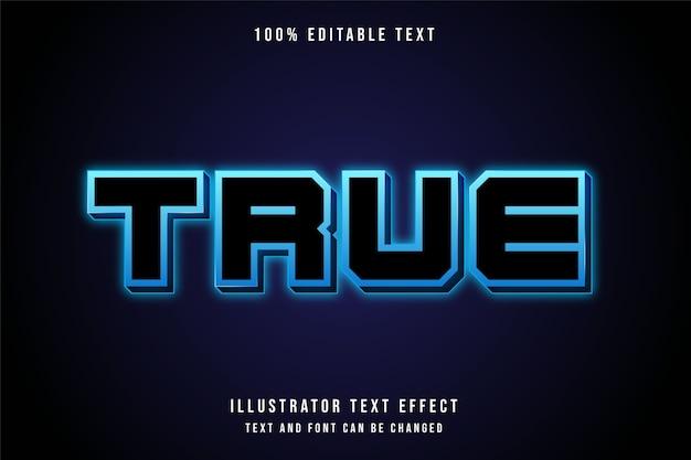 Echter, bearbeitbarer 3d-texteffekt moderner blauer neontextstil Premium Vektoren
