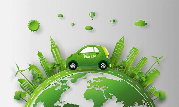 Eco auto in der stadt mit save the earth und energiekonzept. Premium Vektoren