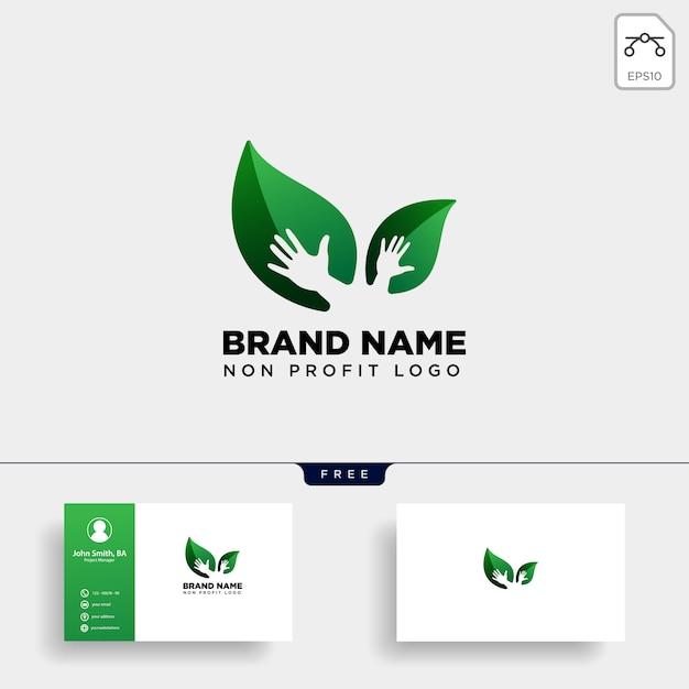 Eco blatt handpflege-logo Premium Vektoren