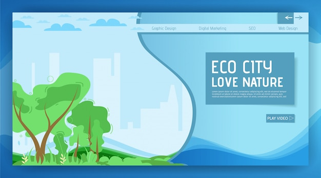 Eco city landing page motivation, die natur zu lieben Premium Vektoren