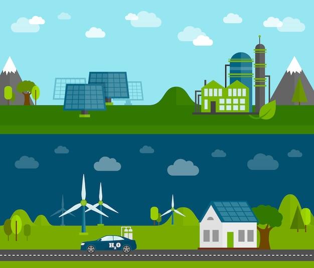 Eco energie flache banner gesetzt Kostenlosen Vektoren