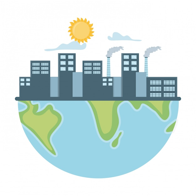Eco fabrik und retten planetendesign Premium Vektoren
