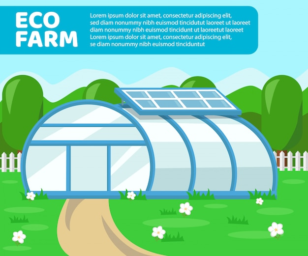 Eco farm gewächshaus Premium Vektoren