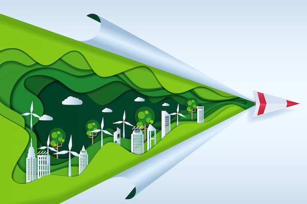 Eco freundlich mit papierflugzeug auf wolke Premium Vektoren