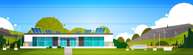 Eco freundliches modernes haus mit den windkraftanlagen und dem sonnenkollektor-alternativen energiekonzept horizontal Premium Vektoren