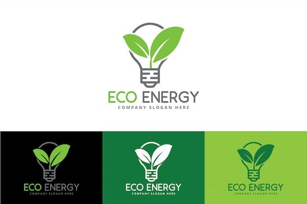 Eco green energy logo mit birne und blatt Premium Vektoren