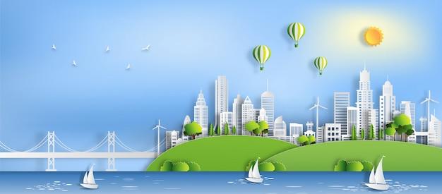 Eco grüne stadt, retten den planeten und energiekonzept Premium Vektoren