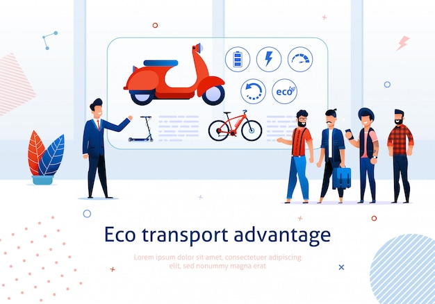 Eco transport advantage e-bike-roller-vorteil Premium Vektoren