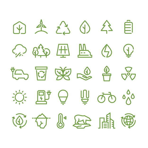 Eco und grüne umwelt zeichnen ikonen, ökologie und wiederverwertung umreißsymbole Premium Vektoren
