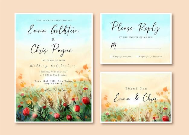 Edding einladungskarte mit schöner rosengartenlandschaft Premium Vektoren