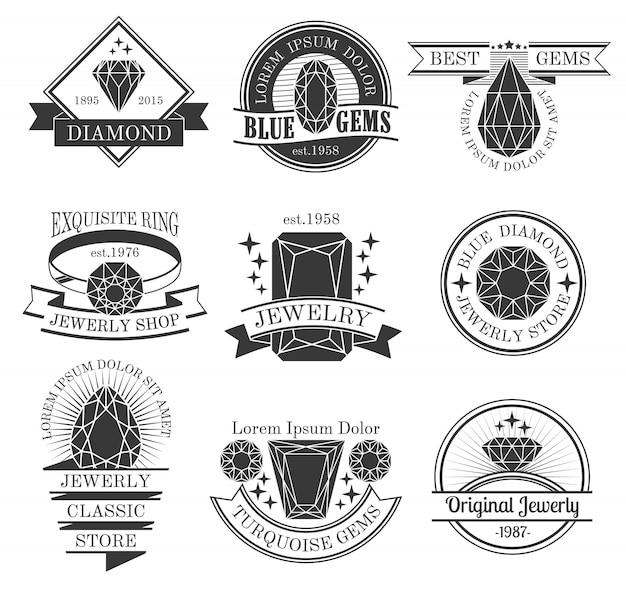 Edelsteine schwarz weiß embleme set Kostenlosen Vektoren