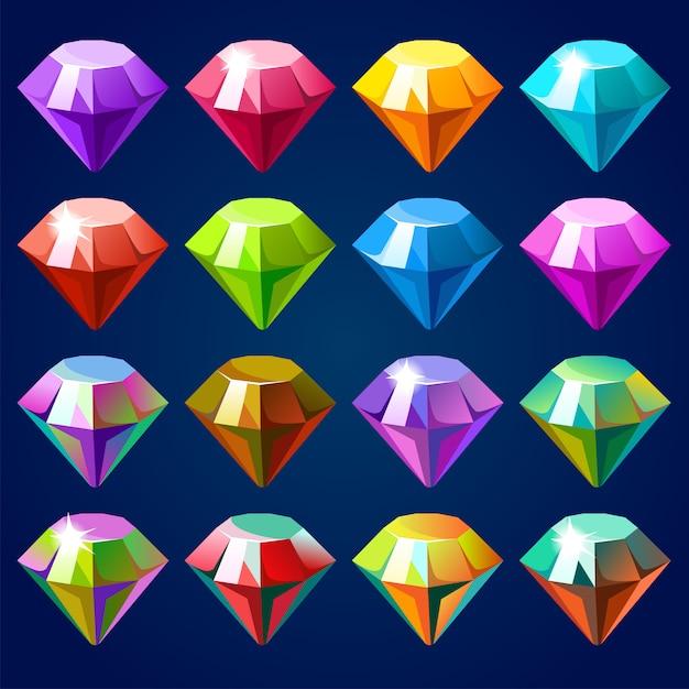 Edelsteine und diamanten. Premium Vektoren