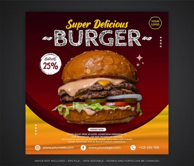 Editable food social media promotion und banner post design vorlage Premium Vektoren