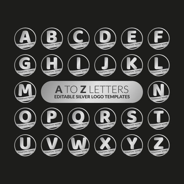 Editierbare silberne logovorlagen von a bis z Premium Vektoren
