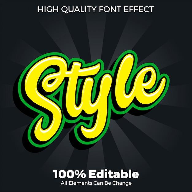 Editierbarer gusseffekt der skriptartaufkleber-textart Premium Vektoren