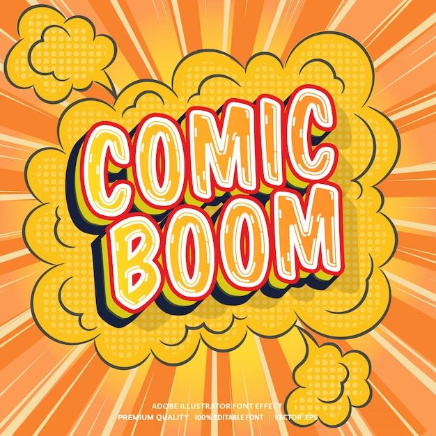 Editierbarer texteffekt des comic-booms Premium Vektoren