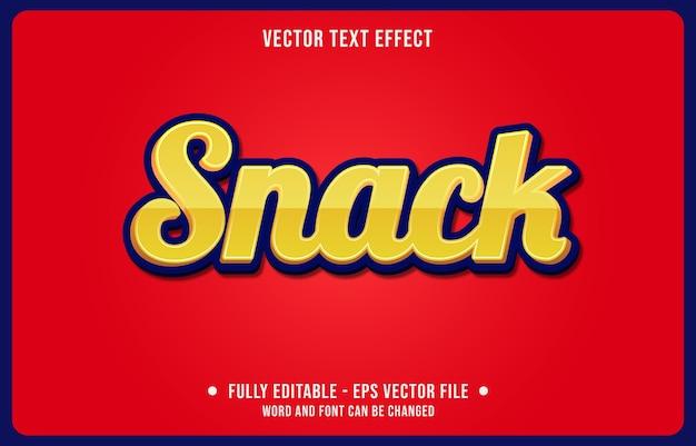 Editierbarer texteffekt-snack gelber moderner stil Premium Vektoren