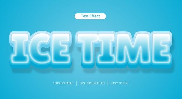 Editierbarer textstileffekt der eiskalten textur 3d Premium Vektoren