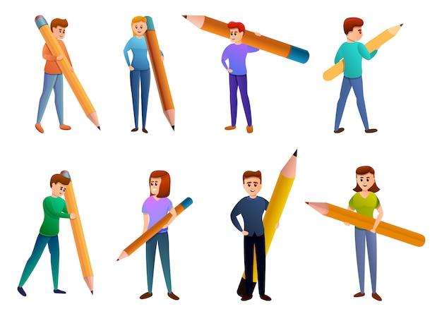 Editor icons set, cartoon-stil Premium Vektoren