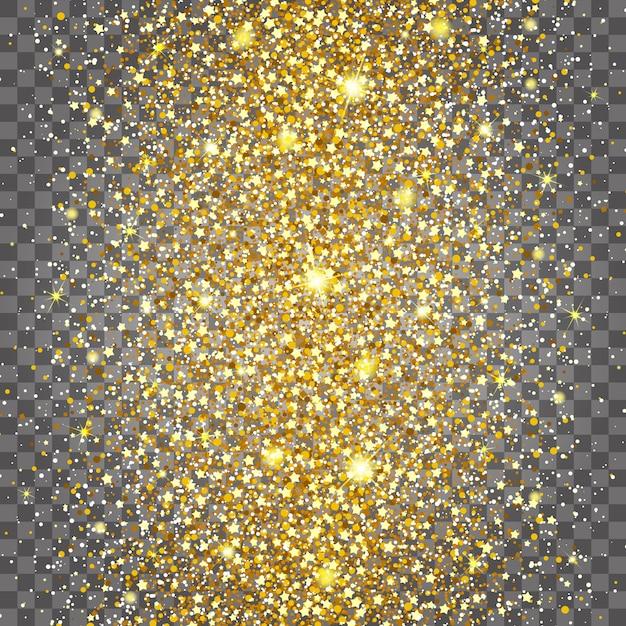 Effekt des fliegens häufig in der mitte des reichen hintergrundes des goldglanzluxusdesigns. hellgrauer hintergrund. sternenstaub löst die explosion auf einem transparenten hintergrund aus. luxus goldene textur Premium Vektoren
