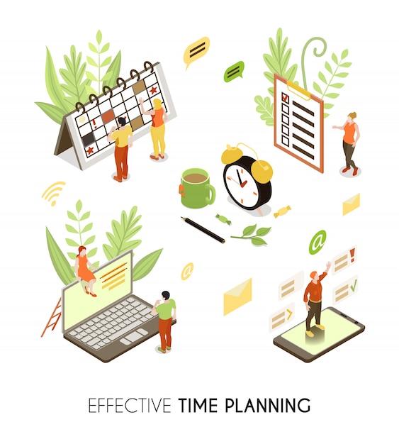 Effektiver isometrischer hintergrund für die zeitplanung mit personen, die geschäftspläne und routineverwaltung erstellen Kostenlosen Vektoren