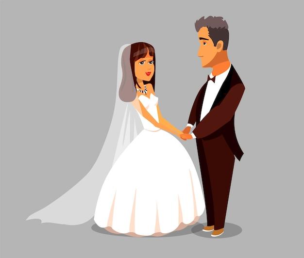 Ehefrau und älterer ehemann bride vector character. Premium Vektoren