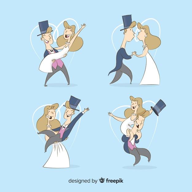 Ehemann und frau, die an ihrem großen tag glücklich sind Kostenlosen Vektoren
