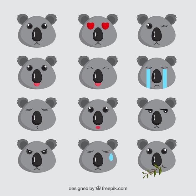 Ehrfürchtig emoji sammlung von niedlichen koalas Kostenlosen Vektoren