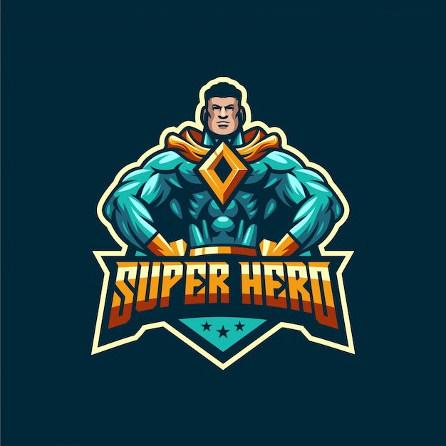 Ehrfürchtige superheldlogoschablone Premium Vektoren