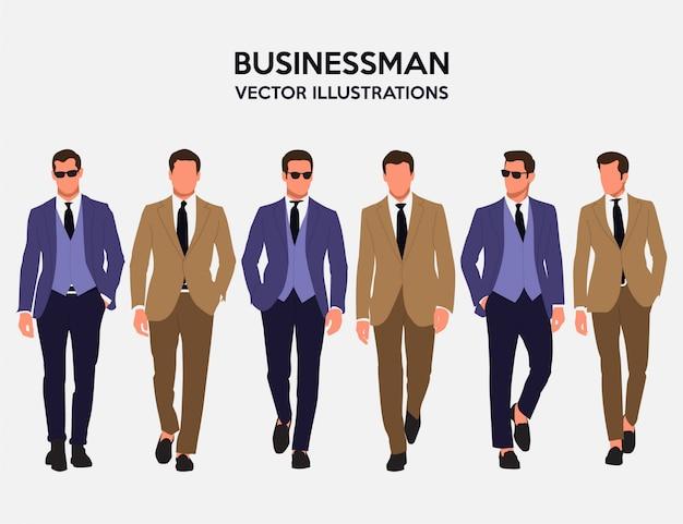 Ehrfürchtiger geschäftsmann vector illustrations Premium Vektoren