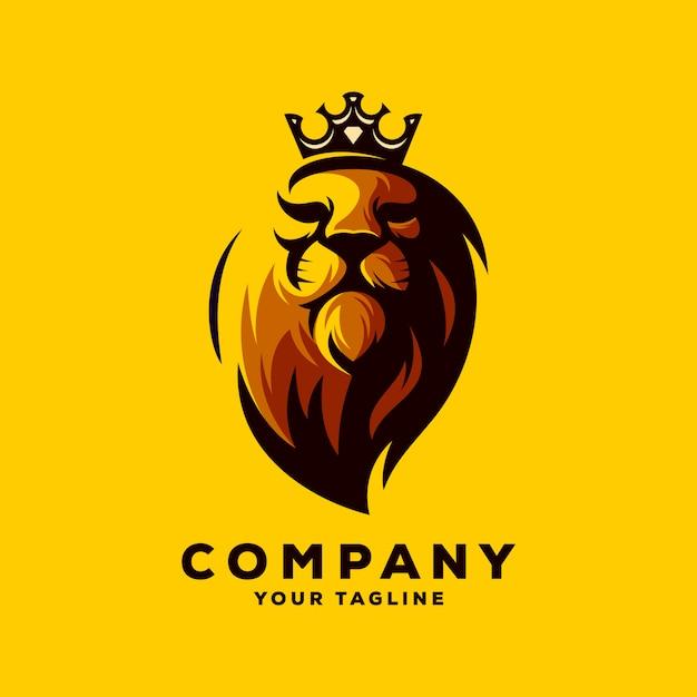 Ehrfürchtiger löwekönig-logovektor Premium Vektoren
