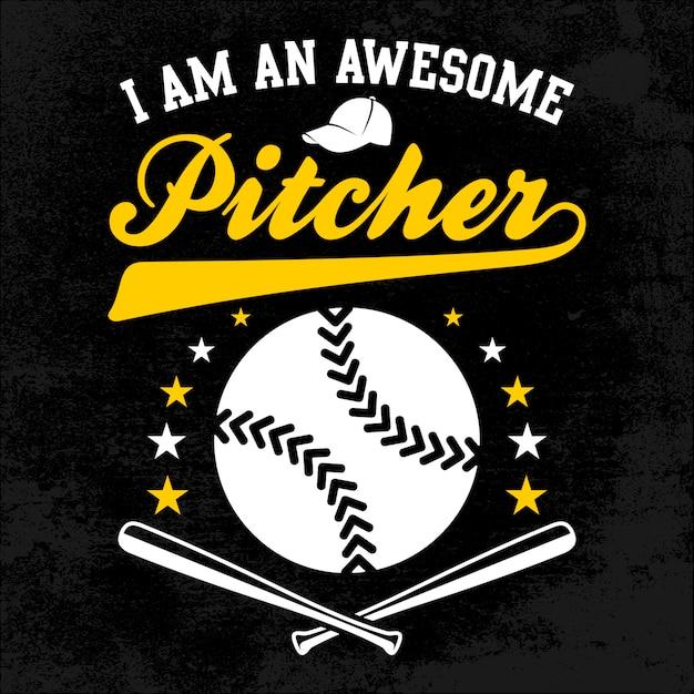 Ehrfürchtiger pitcher mit stock-und ball-bedrängnis-hintergrund Premium Vektoren