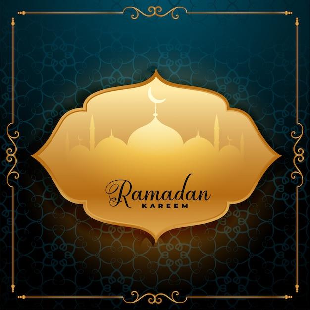 Ehrfürchtiger ramadan-kareem grußhintergrund Kostenlosen Vektoren