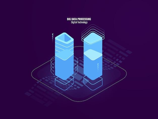 Ehrfürchtiges digitaltechnikzusammenfassungskonzept, serverraumfarm, blockchain sicherheitstechnologie Kostenlosen Vektoren
