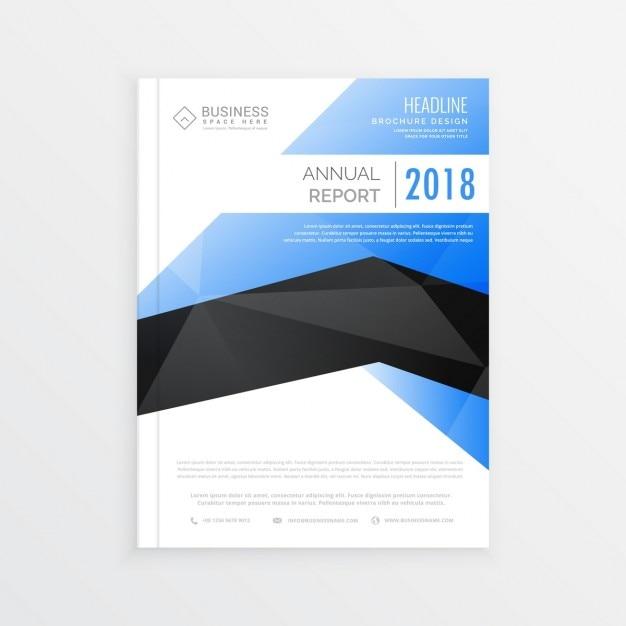 Ehrfürchtige Business Broschüre Vorlage Mit Blauen Und Schwarzen