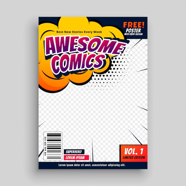 Ehrfürchtige Comicbuch-Deckblatt-Entwurfsschablone Kostenlose Vektoren