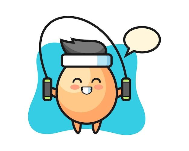 Ei charakter cartoon mit springseil, niedlichen stil für t-shirt, aufkleber, logo-element Premium Vektoren