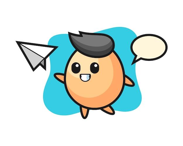 Ei-karikaturcharakter, der papierflugzeug wirft, niedliche artentwurf für t-shirt, aufkleber, logoelement Premium Vektoren