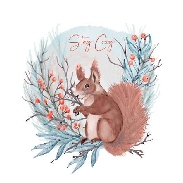 Eichhörnchen im wald. bleib gemütlich Premium Vektoren