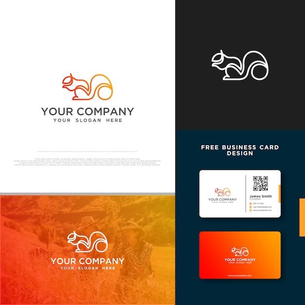 Eichhörnchen-logo mit freiem visitenkarte-entwurf Premium Vektoren