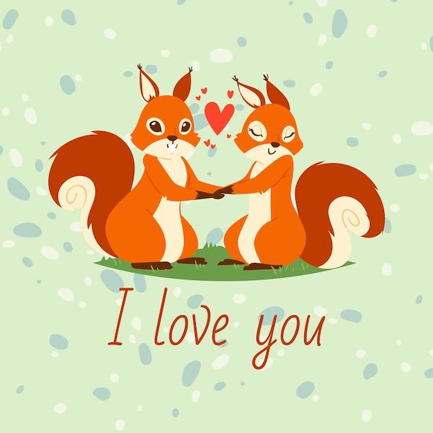 Eichhörnchenpaare in der liebesfahne, grußkarte. cartoon tiere hand in hand. fliegende herzen. ich liebe dich. valentine day zeichen beziehung Premium Vektoren