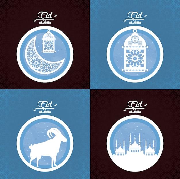 Eid al adha fest der muslime Kostenlosen Vektoren